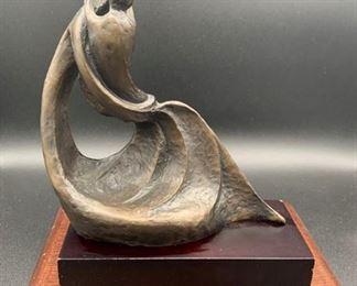"Korean Bronze Sculpture ""Mother & Child"" on Wood Base"