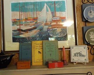 Signed, numbered lithograph, Alfred Maine ephemera, Hall Aladdin teapot, Wedgewood plates