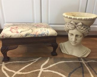 Upholstered foot stool and Head vase.