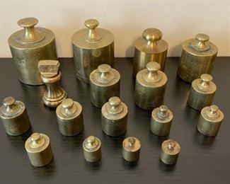 CLEARANCE !  $50.00 NOW, WAS $150.00......................17 Brass Scale Weights (G026)