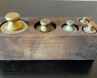 """CLEARANCE !   $10.00 NOW, WAS $40.00..............Antique Apothecary Brass Weights in Box 8"""" x 2 1/2"""" (G020)"""