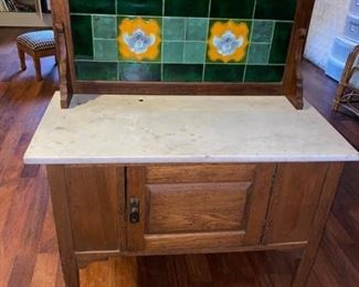 """Antique Marble Top Washstand Excellent condition besides some stains on marble. 3' across x 18"""" deep x 31"""" tall to tabletop, 51"""" tall to very top of back. Must be able to move downstairs and load yourself."""