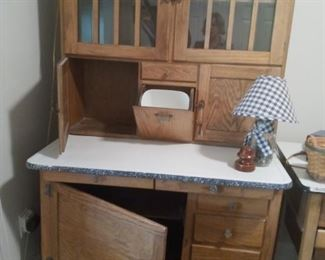 Boone Hoosier Cabinet with drawers demonstrated.