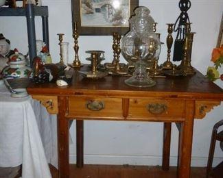 Vintage desk, brass candlesticks, old Apothecary Jar