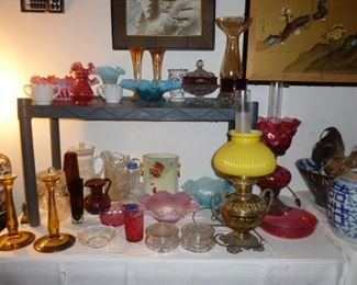 Great old glass and 2 beautiful oil lamps (electrified)