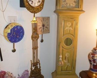 vintage Colonial Grandfather Clock, unique vintage metal clock