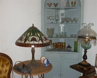 Cool corner cabinet, vintage glass