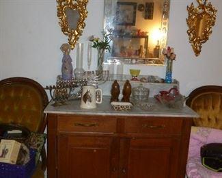 Marble top cabinet w/drawers, Venetian mirror, etc.