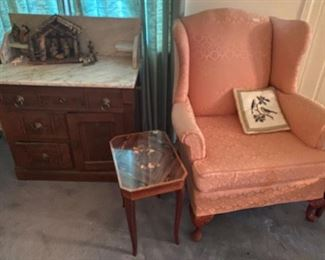 Marble top wash stand, wing chair, inlaid table/music box