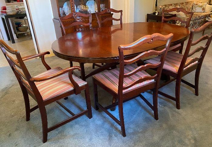 Mahogany dining table (has 2 leaves) & 6 ribbon back  chairs