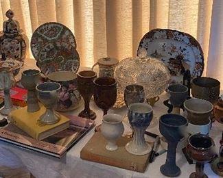 Imari, Rose Medallion porcelains, collection of goblets