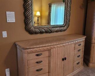 "Bernhardt:  $250 Mirror 53"" x 46"", $400 Triple Dresser 74''x 22"" x 38"""