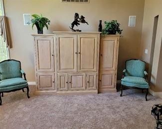 "$200 3pc Entertainment center, 23"" x 20.5"" x 63.5"" $75ea Sage Arm Chair 2 available"