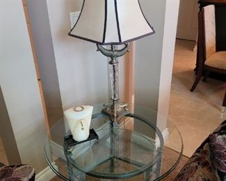 """$150 Small round glass table, 30"""" x 24"""""""