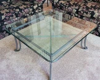 """$275 Square glass table, 38"""" x 38"""" x 18"""""""