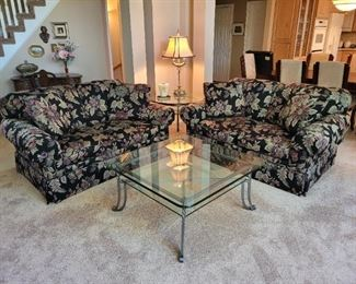 "$300 ea. La-Z-Boy Loveseats 46"" x 67"" x 35"" $275 Square glass table 38"" x 38"" x 18"", $150 Small round glass table 30"" x 24"""