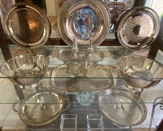 assorted sterling and silver-plate