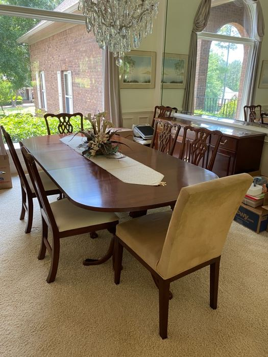 """Mahogany Dining room set By Wellington Hall, 8 Chippendale chairs-6 regular and 2 captains, table 86x44 with 20"""" leaf, buffet 64x34x18"""