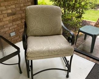 Winston Palazzo Cushion Cast Aluminum Arm Lounge Chair Glider.Palazzo is elegant and bold, with graceful, curved sides punctuated by a dramatic scroll detail. Button tufted cushions with welt construction lend to the tailored look of this customizable set.Dimensions: 28W x 35D x 36H inches.(retail price was$1,100)
