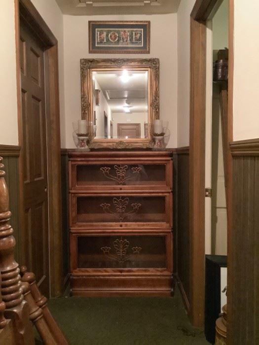 Vintage Glass Door Cabinet with Mirror