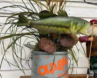 Antique Minnow Bucket Display