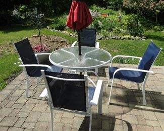 Patio Table and chairs Umbrella not for sale