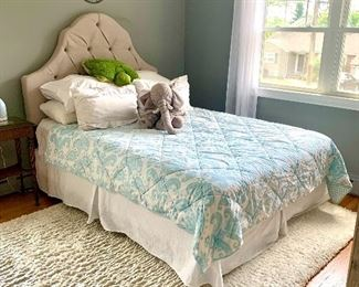 Queen sized upholstered headboard, mattress & bedding (sheets, pillows, bedspread & dust ruffle) all for sale