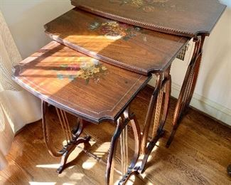 """$180 - Vintage hand painted harp base nesting tables (3). Largest table: 29""""H x 26.5""""W x 16""""D"""