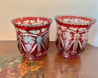 """$100 - Pair of vintage red bohemian etched glass bowls. One as is (small chip) 4.5""""H x 4.5""""D"""