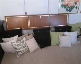 MCM King-Size Headboard by Century Furniture Co.       Nice Grouping of Throw Pillows.