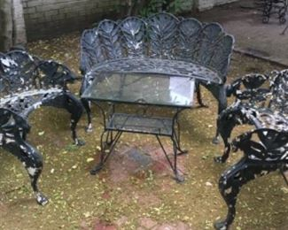 Vintage heavy wrought iron furniture