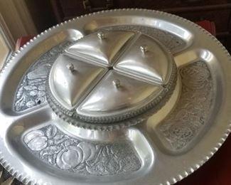 Large vintage tin Lazy Susan