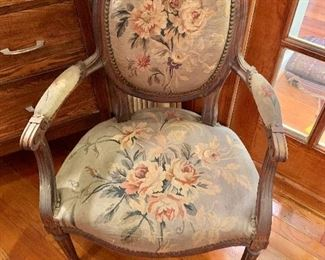 Pair of vintage needlepoint arm chairs