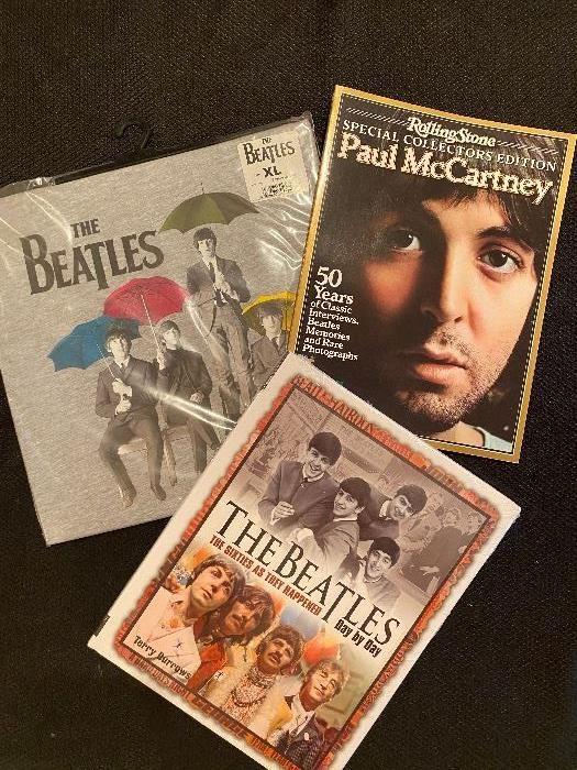 Beatles t-shirt, magazines