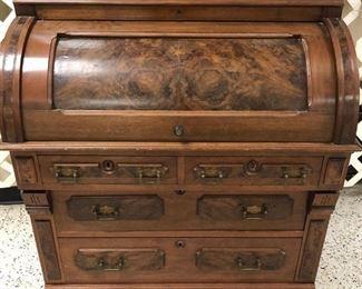 Walnut Cylinder Roll Secretary Bookcase