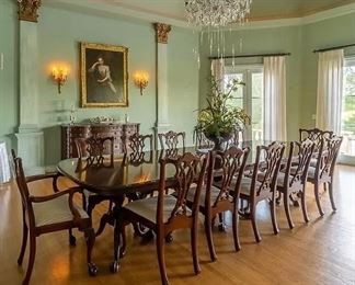 Chippendale formal dining table with 14 chairs! (2 not pictured)