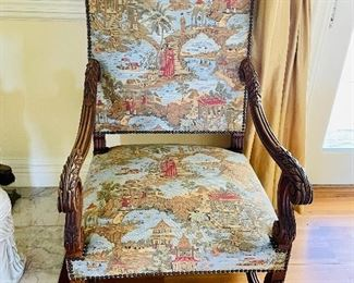 pair of antique side chairs with newer chinoiserie fabric