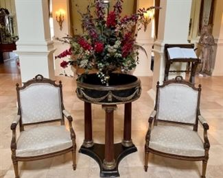 Pair of antique silk upholstered carved chairs, heavy round marble foyer table