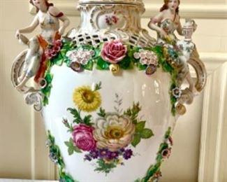 """Best ever....28"""" Sitzendorf ornate urn. Excellent condition"""