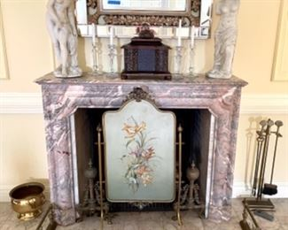antique brass andirons & matching guard, hand painted fireplace screen with mother of pearl inlay, alabaster nude statue, plaster nude statue