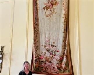 exquisite hanging tapestry (apprx 12' tall), pair of light green marble columns