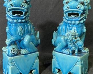 Pair Blue Foo Dog Ceramic Statues