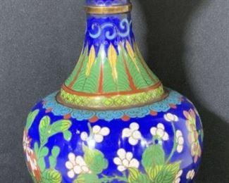 Vintage Blue Chinese Cloisonné Vase on Brass