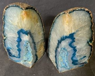 Pair Blue Agate Geode Book Ends