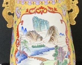 CHINESE ENAMAL VESSEL w Gilt Dragon Handles