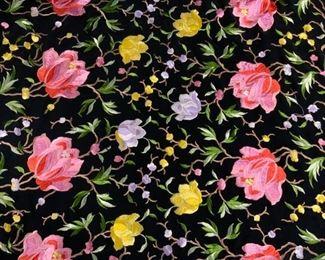 Embroidered Fringe Shawl