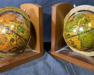 Pair Wooden Globe Bookends