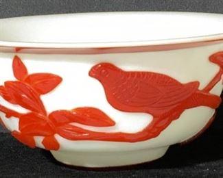 CHINESE PEKING GLASS BOWL w BIRD OVERLAY