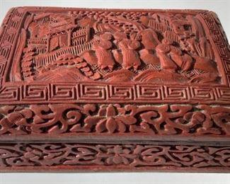 Vintage Asian Cinnabar Trinket Box W Lid