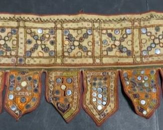 Vintage South Asian Mirrored Valence Textile